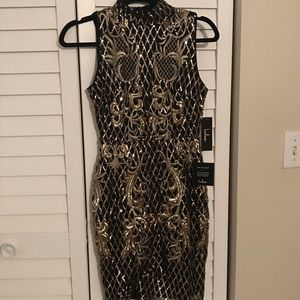 BNWT Gold and black sequin dress